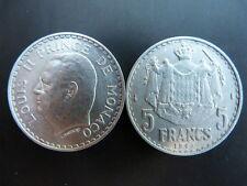 Pièce monnaie MONACO 5 Francs 1945 LOUIS II aluminium bon état