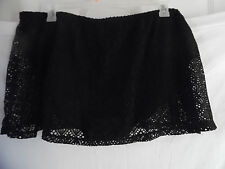 CATALINA SWIMSUIT CROCHET LOOK FLARE SKIRT SKIRTINI PANTY BIKINI BLACK 3X 22W 24