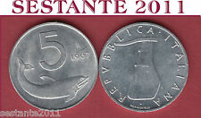 A47  ITALY ITALIA  REPUBBLICA ITALIANA  5 LIRE 1967  KM 92  FDC / UNC