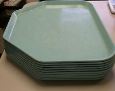"8 Vintage ""Robins Egg Blue"" Hexagon Trapezoid Cafeteria Lunch Fast Food Trays"