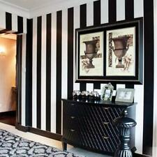 Home Modern Fashion Black And White Vertical Striped Wallpaper PVC Material 10M