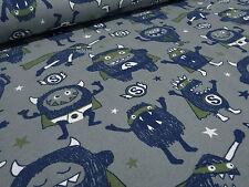 ☻ Stoff Baumwolle Jersey Monster Superhelden Kinderstoff grau blau oliv weiß ☻