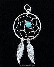 Dream Catcher Pendant Sterling Silver Turquoise crystal gemstone Jewellery 37mm