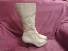 Ladies Women's Cream Leather Boots Size 6, Moccasin Style, Mid Calf