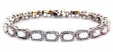 Sterling Silver Fire Opal And Diamond 14.86ct Tennis Bracelet (925)