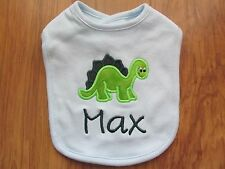 PERSONALIZED MONOGRAM CUSTOM Blue Dinosaur Baby Boy Infant Bib SHOWER GIFT!
