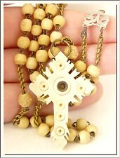 ANTIQUE 1920's FRENCH ROSARY w/ NOTRE DAME STANHOPE CROSS ! VISIT MY STORE !!!