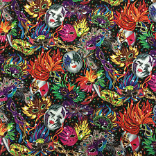 100% Cotton Print Carnival Masks Mardi Gras Dress / Craft Fabric