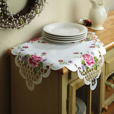 """SQUARE Pink Roses Table Topper Doily 22"""" x22"""" Embroidery NEW! Doily MACHINE WASH"""