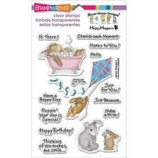 New stampendous RUBBER STAMP clear Acrylic HOPPY MOMENTS HOUSE MOUSE H HOPPER