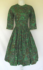 VINTAGE 1950s 60s MOD CANDY JONES OF CALIFORNIA DRESS GREEN LAYERED MIDRIFF