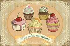 Blechschild - KEEP CALM - EAT CUPCAKES COLLAGE SHABBY CHIC 20x30 cm 23063