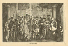 Victorian Canada, Costume Ball, Early Fashions, Vintage, 1876 Antique Art Print.