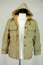 VTG REVERSIBLE Woolrich Tweed & 60/40 Leather Buttons Patch Pockets USA Made S