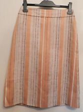 DRIES VAN NOTEN (UK10 / EU40) BROWN STRIPED LINEN/SILK-BLEND LINED SKIRT