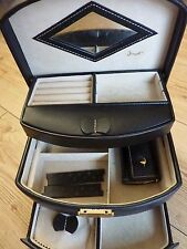 Jacob Black Leather Jewellery Box Case + Roll Lockable Used Large Size 3 Tier