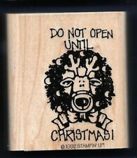 DO NOT OPEN UNTIL CHRISTMAS gift tag card words Stampin' Up! 1992 Rubber Stamp