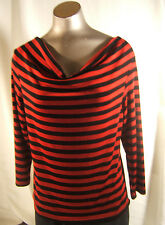 Red & Black Travelers  size M Knit Top Made in Heaven Drape Neck