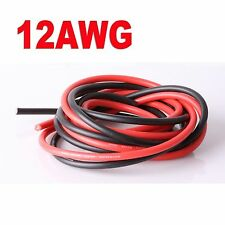 12AWG Flexible Silicone Wire Cable (Black 100cm + Red 100cm) 2 Meter DIY
