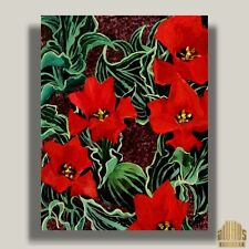 YARY DLUHOS Flowers Red Tulips Floral Garden plants modern Original Oil Painting