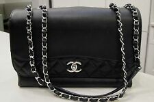 Chanel Smooth Black Calfskin Front Flap Bag With Quilt Trim Season 16P