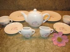 Adorable Hand Painted Child's Tea Set, Easter Rabbit Bunny 10 piece.