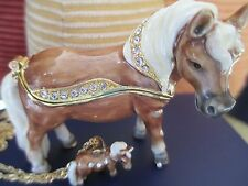 "MINIATURE HORSE "" THUMBELINA ""  ENAMELED JEWEL BOX & NECKLACE #62652"