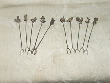1930s 11 Hors D'oeuvre Picks 850 Mexican Silver Small Double Prong Forks 17 gram