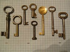 LOT OF 8 ANTIQUE KEYS, SKELETON, FURNITURE, BARREL, CABINET AND OLD LOCK KEYS