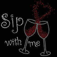"Hotfix Rhinestone Iron on Heat Transfer Wine design ""Sip with me  glasses"""