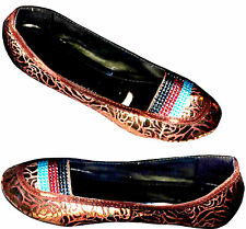NWOB; COPPERY GOLD BROWN GLAM BALLET FLAT SHOES _36 /35