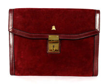 MARK CROSS Vintage Burgundy Red Suede & Leather Envelope Clutch Bag