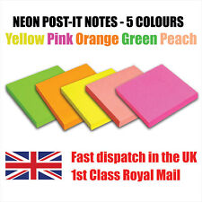 """500 (100 x 5 Colours) Neon Removable Sticky Post It Notes 76mm x 76mm 3"""" x 3"""""""