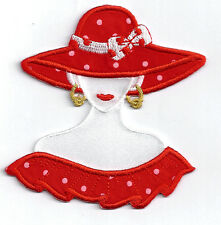 RED HAT LADY IN POLKA DOTS ~ IRON ON APPLIQUE