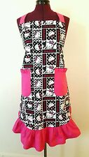 Hello Kitty Black and White and Hot Pink Ruffles Cotton Apron