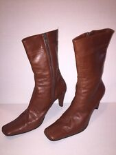 Italian Leather Brown Ankle Boots 8.5 Vespa, Luxury Leather, HighHeels, Zipper,