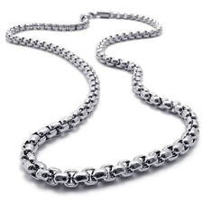"2015 MEN 2MM Silver 20"" Stainless Steel Pearl Box Chain Necklace Fashion Pendant"