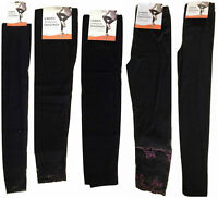 Ladies Women Stretch Full Length ¾ Leggings Black Lace Trim Footless Legwear