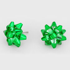 "Christmas Earrings Gift Bow Ribbon Metal 5/8"" Stud Holiday Jewelry GREEN Party"