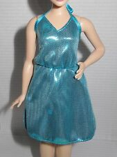 *DRESS ~ CURVY BARBIE DOLL CAREERS POP STAR METALLIC BLUE HALTER COCKTAIL DRESS