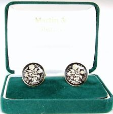 1964 6D cufflinks from real coins in Black & Gold