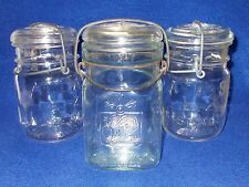 3 Pint Size Canning Jars - 2 Atlas E-Z Seal & 1 Queen Wide Mouth