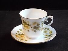 Queen Anne  Fine Bone China England Yellow Flowers and Leaves Tea Cup & Saucer
