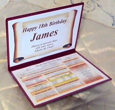 18TH BIRTHDAY  PERSONALISED GIFT- THE DAY YOU WERE BORN - KEEPSAKE
