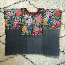 VTG Guatemalan HUIPIL Faded Black Grey  Floral Brocade - Chichicastenango