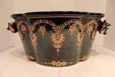 Beautiful Large Black Porcelain Pot Dotted Design with Pomegranate Accents