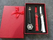 New Quartz Ladies Watch with Black, White and Red Bands