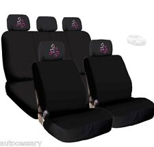 New 4X Car Red Pink Hearts Logo Headrest and Black Cloth Seat Covers For Ford