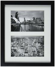 8x10 Black Photo Wood Collage Frame with White Mat displays (2) 4x6 pictures
