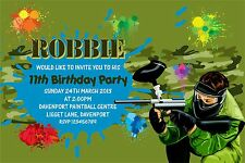 Personalised Birthday Invitations Paintball Party x 5
